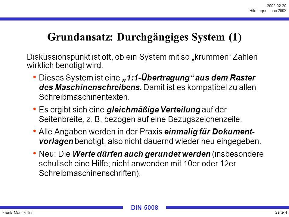 Frank Manekeller Seite 5 2002-02-20 Bildungsmesse 2002 DIN 5008 Grundansatz: Durchgängiges System (2) Festes Raster: (vereinfacht) Rand 24,1 mm (25 mm) (25,4 – halber Buchstabe) + 25,4 = 49,5 mm (50 mm) (Einrückung; 1.