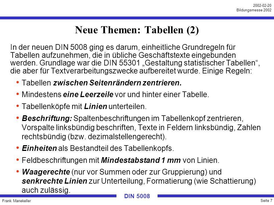 Frank Manekeller Seite 7 2002-02-20 Bildungsmesse 2002 DIN 5008 Neue Themen: Tabellen (2) In der neuen DIN 5008 ging es darum, einheitliche Grundregel