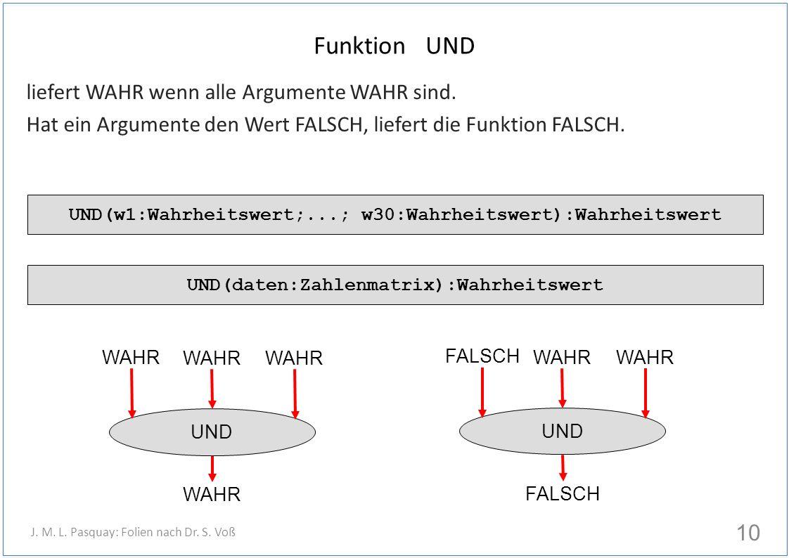Funktion UND liefert WAHR wenn alle Argumente WAHR sind. Hat ein Argumente den Wert FALSCH, liefert die Funktion FALSCH. 10 J. M. L. Pasquay: Folien n