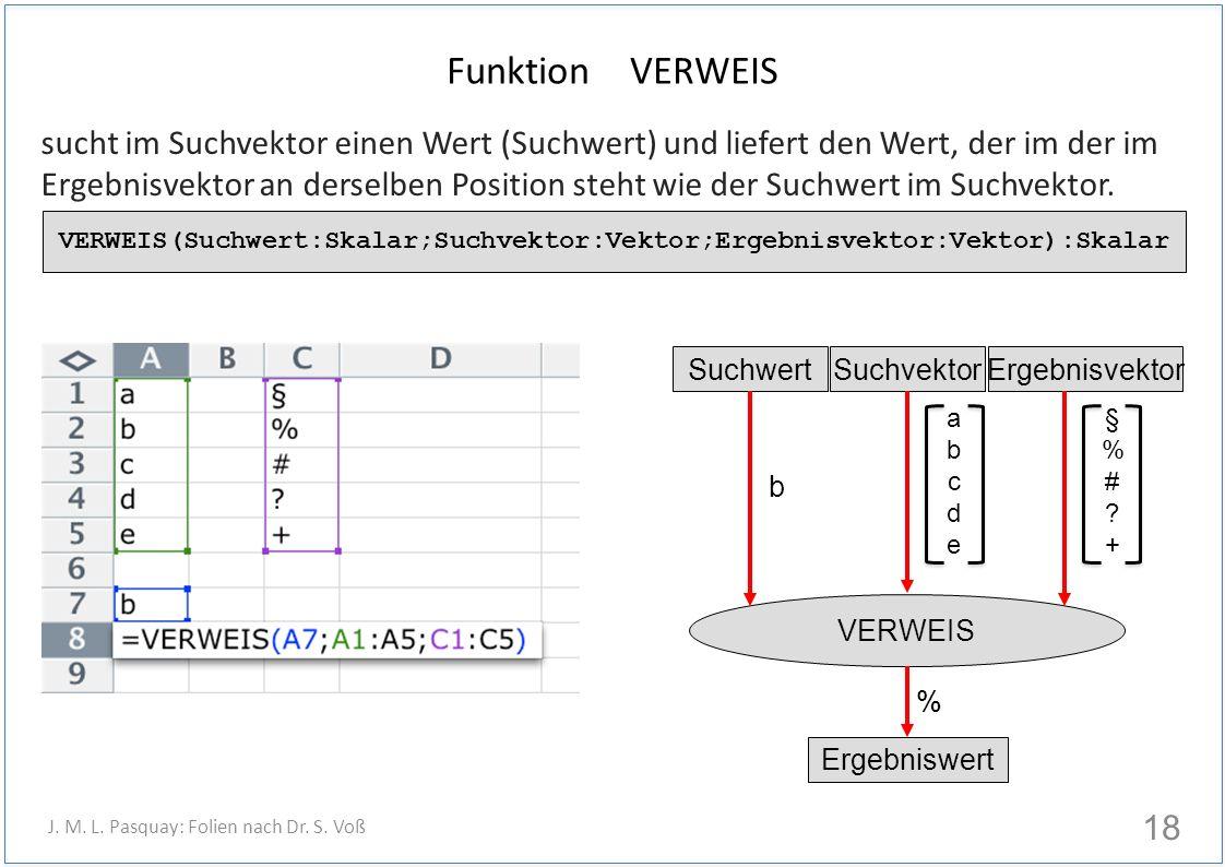 Funktion VERWEIS sucht im Suchvektor einen Wert (Suchwert) und liefert den Wert, der im der im Ergebnisvektor an derselben Position steht wie der Suchwert im Suchvektor.