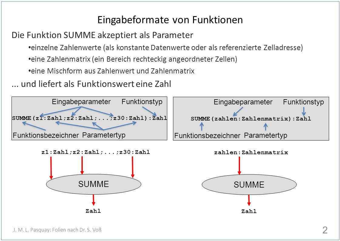 Eingabeformate von Funktionen Die Funktion SUMME akzeptiert als Parameter einzelne Zahlenwerte (als konstante Datenwerte oder als referenzierte Zelladresse) eine Zahlenmatrix (ein Bereich rechteckig angeordneter Zellen) eine Mischform aus Zahlenwert und Zahlenmatrix...