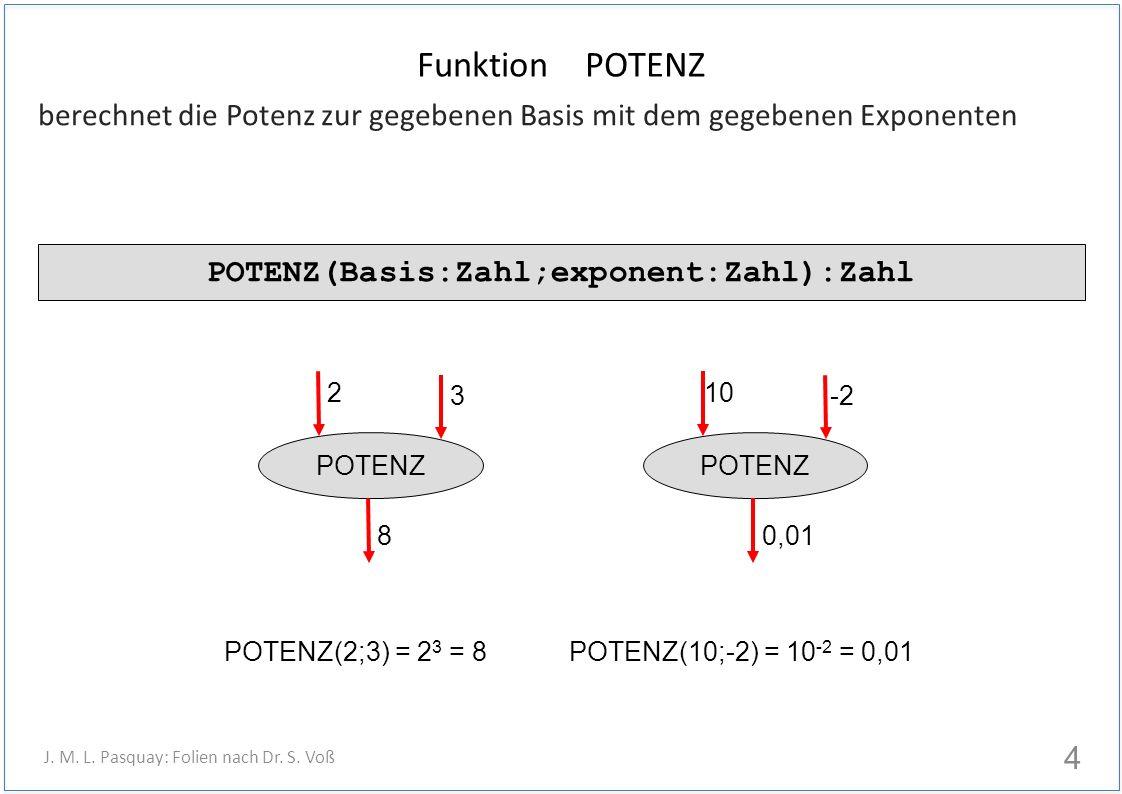 Funktion POTENZ berechnet die Potenz zur gegebenen Basis mit dem gegebenen Exponenten 4 J. M. L. Pasquay: Folien nach Dr. S. Voß POTENZ(Basis:Zahl;exp