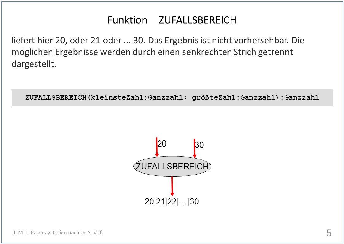 Funktion ZUFALLSBEREICH liefert hier 20, oder 21 oder... 30. Das Ergebnis ist nicht vorhersehbar. Die möglichen Ergebnisse werden durch einen senkrech