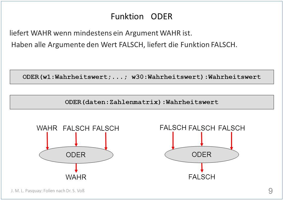 Funktion ODER liefert WAHR wenn mindestens ein Argument WAHR ist. Haben alle Argumente den Wert FALSCH, liefert die Funktion FALSCH. 9 J. M. L. Pasqua