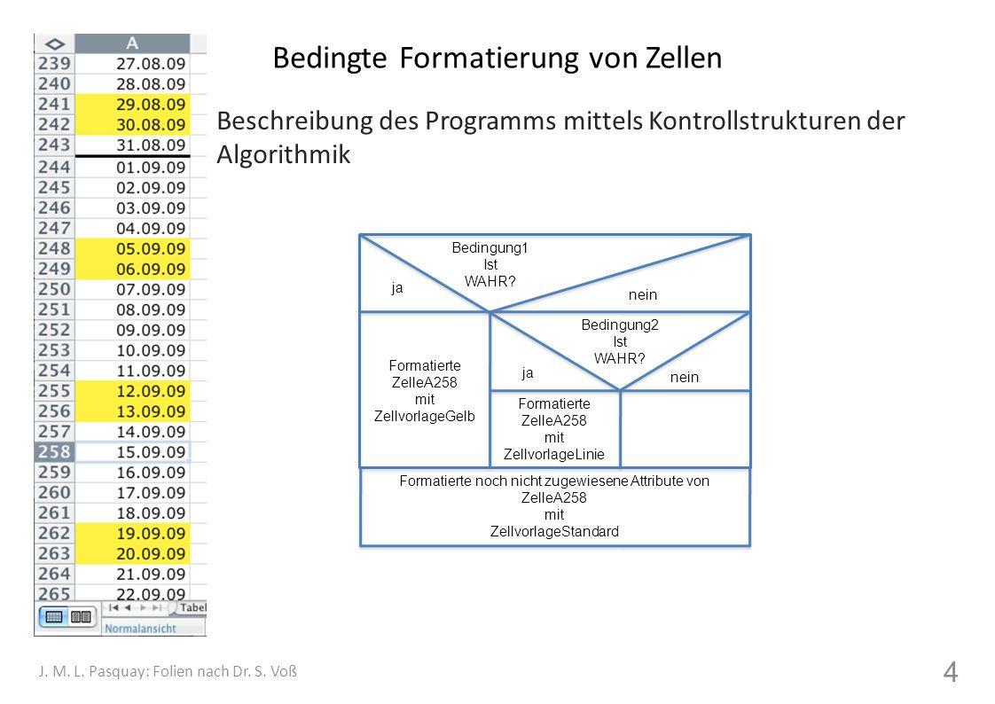 Bedingte Formatierung von Zellen Beschreibung des Programms mittels Kontrollstrukturen der Algorithmik 4 J. M. L. Pasquay: Folien nach Dr. S. Voß Form