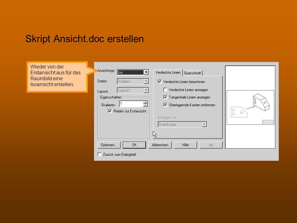 Skript Ansicht.doc erstellen Wieder von der Erstansicht aus für das Raumbild eine Isoansicht erstellen.