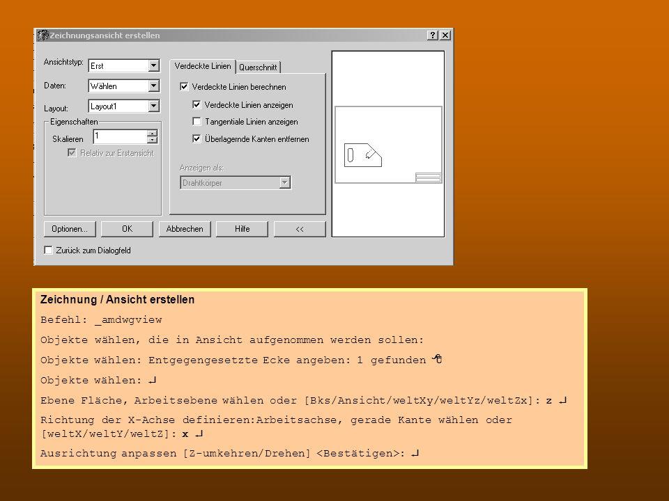 Skript Ansicht.doc erstellen Zeichnung / Ansicht erstellen Befehl: _amdwgview Objekte wählen, die in Ansicht aufgenommen werden sollen: Objekte wählen