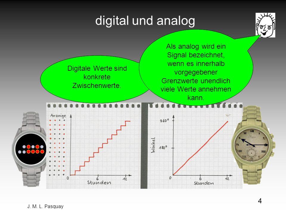 J. M. L. Pasquay 4 digital und analog Digitale Werte sind konkrete Zwischenwerte. Als analog wird ein Signal bezeichnet, wenn es innerhalb vorgegebene