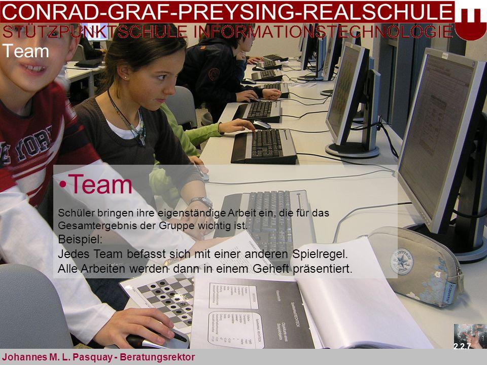 Team Johannes M. L. Pasquay - Beratungsrektor 2.2.7 Team Schüler bringen ihre eigenständige Arbeit ein, die für das Gesamtergebnis der Gruppe wichtig