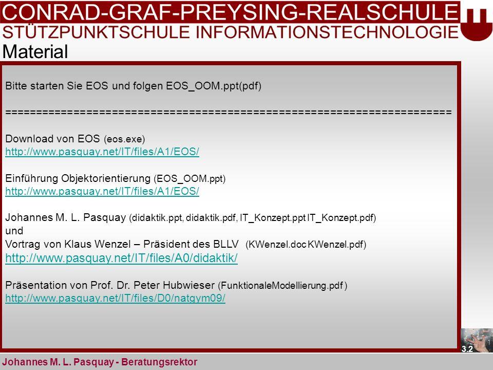 Material Johannes M. L. Pasquay - Beratungsrektor Bitte starten Sie EOS und folgen EOS_OOM.ppt(pdf) ==================================================