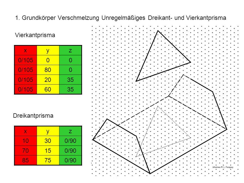 1. Grundkörper Verschmelzung Unregelmäßiges Dreikant- und Vierkantprisma xyz 0/10500 800 0/1052035 0/1056035 xyz 10300/90 70150/90 85750/90 Vierkantpr