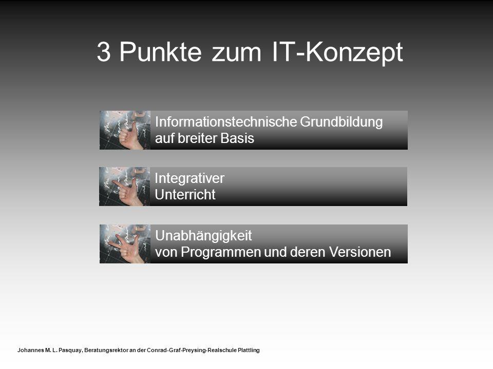 Integrativer Unterricht Unabhängigkeit von Programmen und deren Versionen 3 Punkte zum IT-Konzept Johannes M.