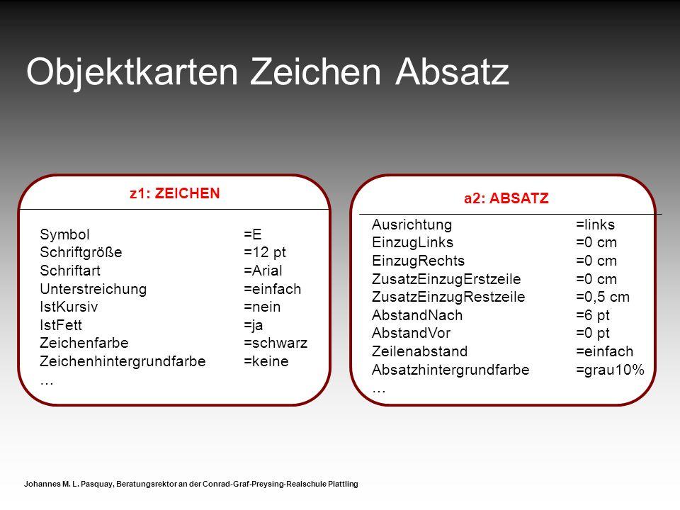 Objektkarten Zeichen Absatz Johannes M. L. Pasquay, Beratungsrektor an der Conrad-Graf-Preysing-Realschule Plattling a2: ABSATZ Ausrichtung=links Einz
