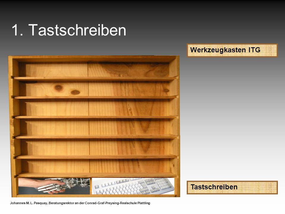 1. Tastschreiben Werkzeugkasten ITG Tastschreiben Johannes M. L. Pasquay, Beratungsrektor an der Conrad-Graf-Preysing-Realschule Plattling