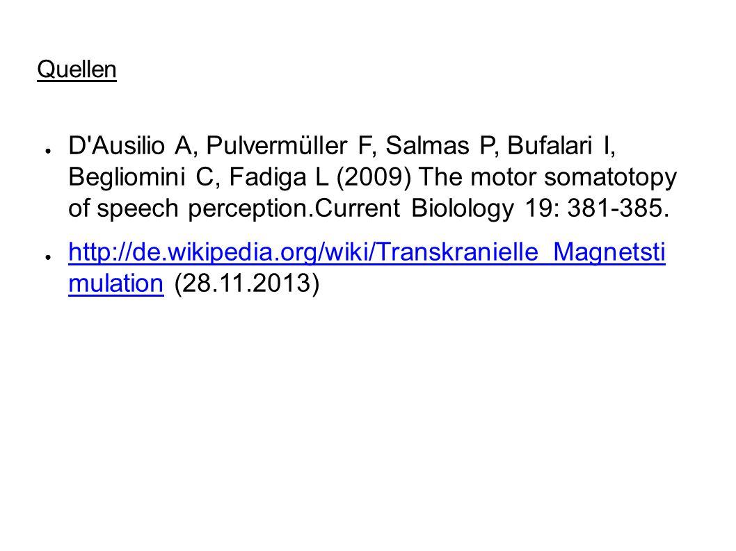 Quellen D'Ausilio A, Pulvermüller F, Salmas P, Bufalari I, Begliomini C, Fadiga L (2009) The motor somatotopy of speech perception.Current Biolology 1