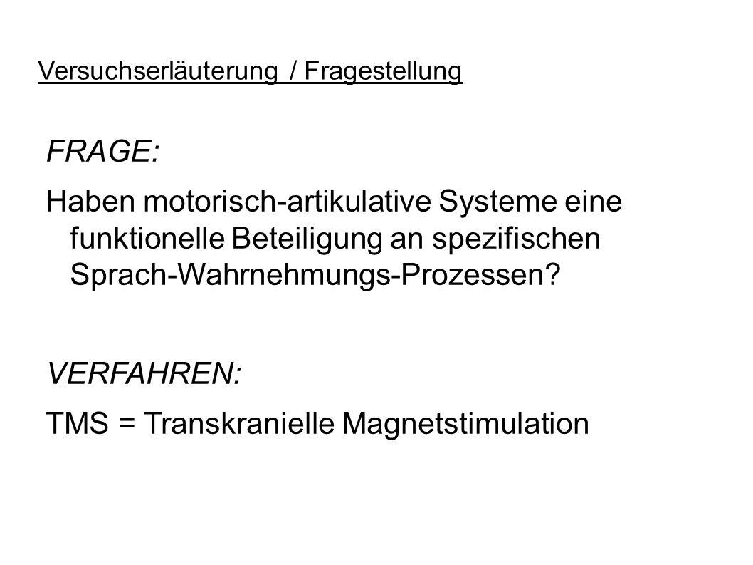 Versuchserläuterung / Fragestellung FRAGE: Haben motorisch-artikulative Systeme eine funktionelle Beteiligung an spezifischen Sprach-Wahrnehmungs-Proz