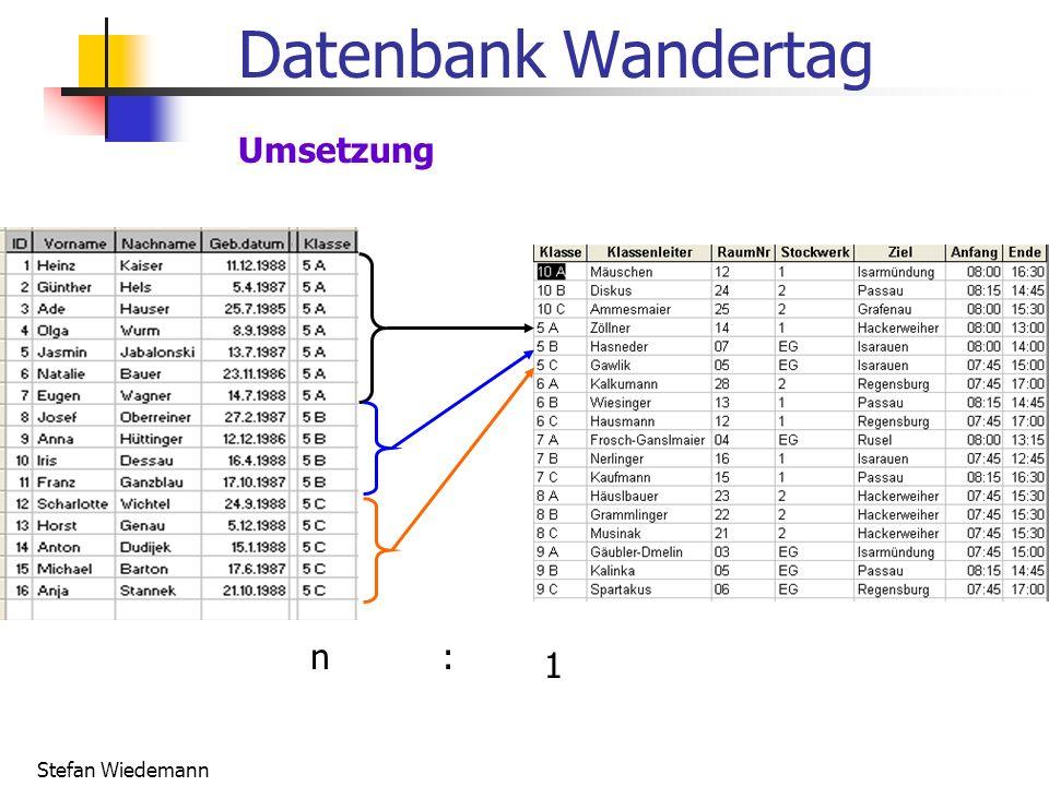 Stefan Wiedemann Datenbank Wandertag Umsetzung n: 1