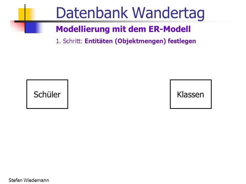 Stefan Wiedemann Datenbank Wandertag Modellierung mit dem ER-Modell SchülerKlassen 1. Schritt: Entitäten (Objektmengen) festlegen