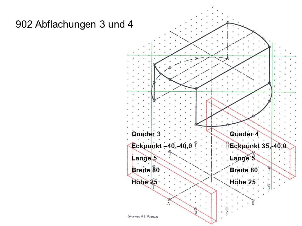 Quader 3 Eckpunkt –40,-40,0 Länge 5 Breite 80 Höhe 25 Quader 4 Eckpunkt 35,-40,0 Länge 5 Breite 80 Höhe 25 902 Abflachungen 3 und 4