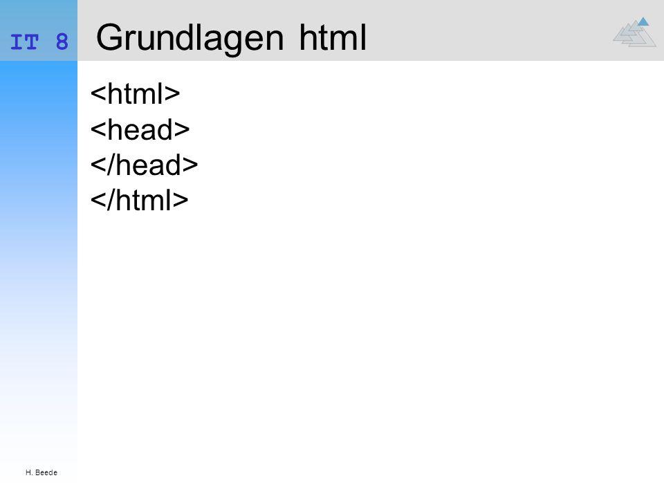 H. Beede IT 8 Grundlagen html