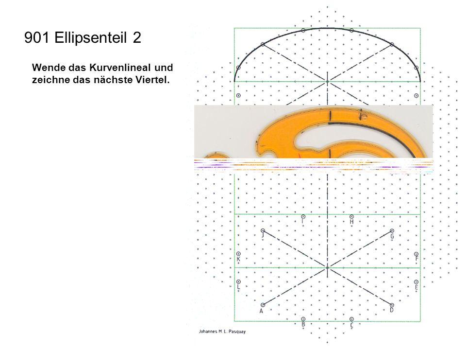 901 Ellipsenteil 2 Wende das Kurvenlineal und zeichne das nächste Viertel.