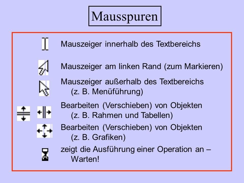 Mausspuren Mauszeiger innerhalb des Textbereichs Mauszeiger am linken Rand (zum Markieren) Mauszeiger außerhalb des Textbereichs (z. B. Menüführung) B