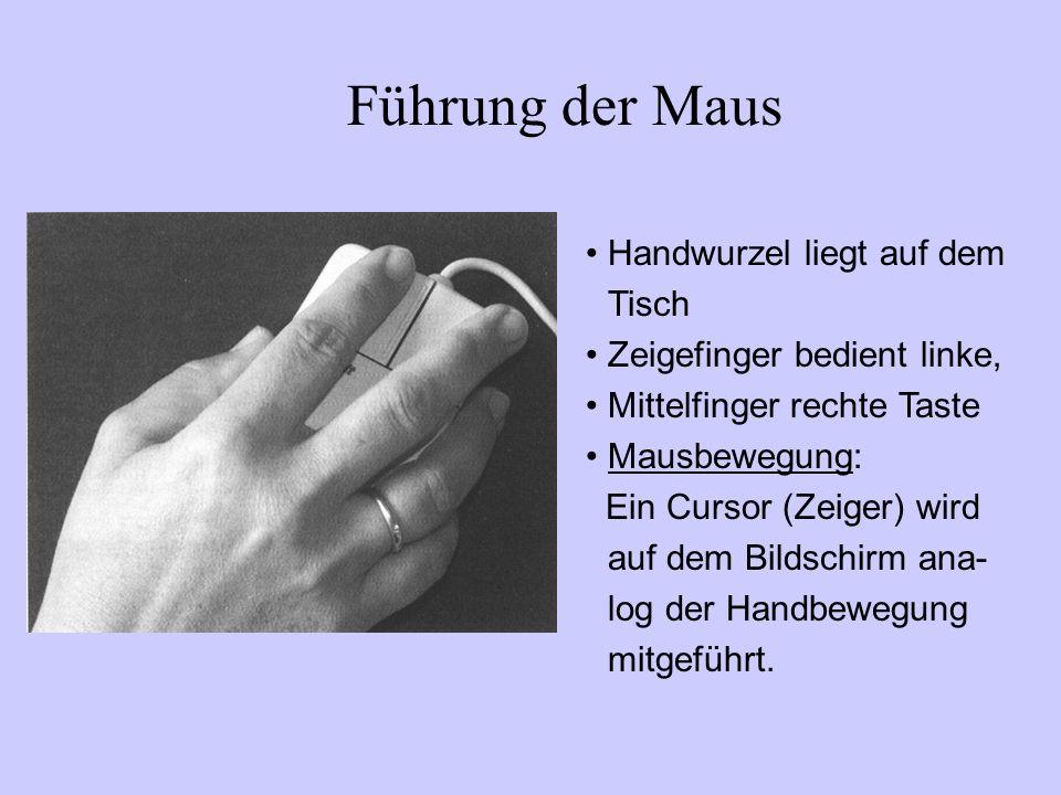 Führung der Maus Handwurzel liegt auf dem Tisch Zeigefinger bedient linke, Mittelfinger rechte Taste Mausbewegung: Ein Cursor (Zeiger) wird auf dem Bi