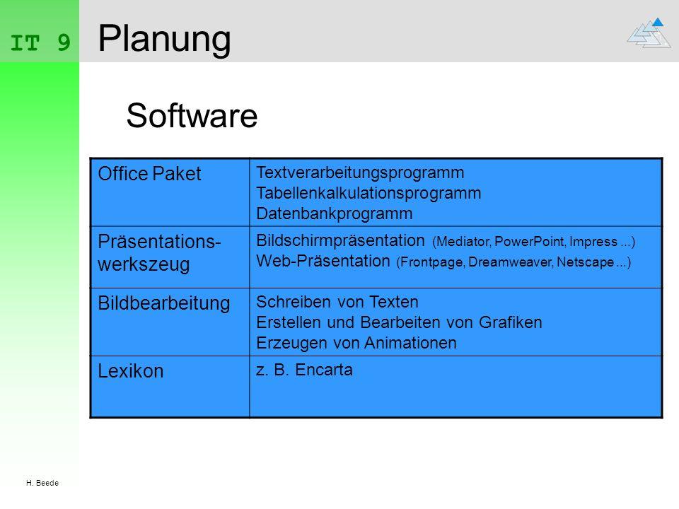 IT 9 H. Beede Planung Software Office Paket Textverarbeitungsprogramm Tabellenkalkulationsprogramm Datenbankprogramm Präsentations- werkszeug Bildschi