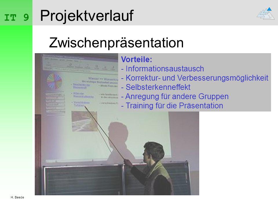 IT 9 H. Beede Projektverlauf Zwischenpräsentation Vorteile: - Informationsaustausch - Korrektur- und Verbesserungsmöglichkeit - Selbsterkenneffekt - A