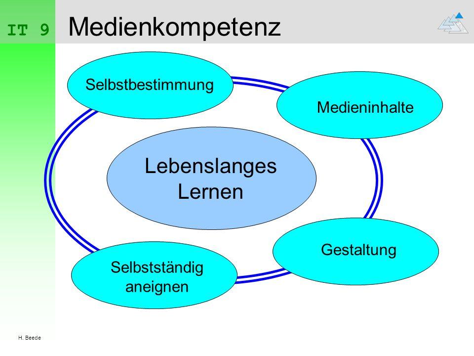 IT 9 H. Beede Medienkompetenz Lebenslanges Lernen Selbstbestimmung Medieninhalte Selbstständig aneignen Gestaltung