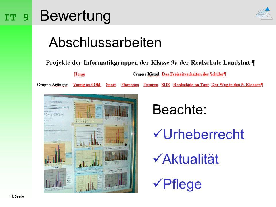 IT 9 H. Beede Bewertung Abschlussarbeiten Beachte: Urheberrecht Aktualität Pflege