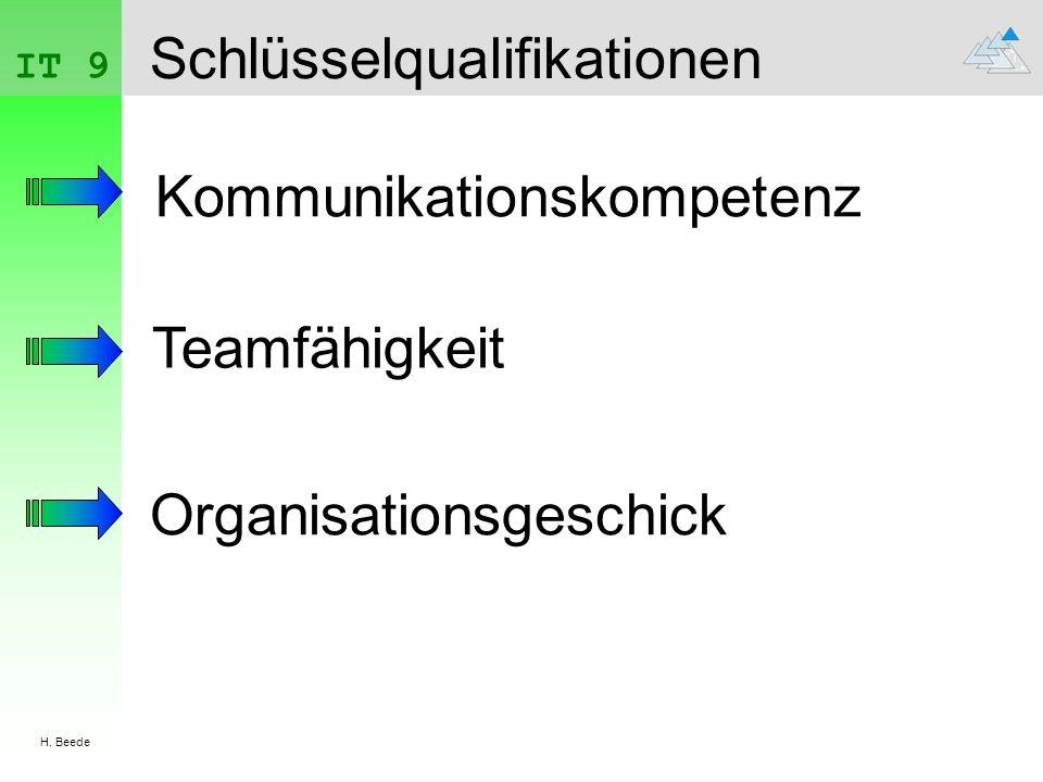 IT 9 H. Beede Schlüsselqualifikationen Kommunikationskompetenz Teamfähigkeit Organisationsgeschick