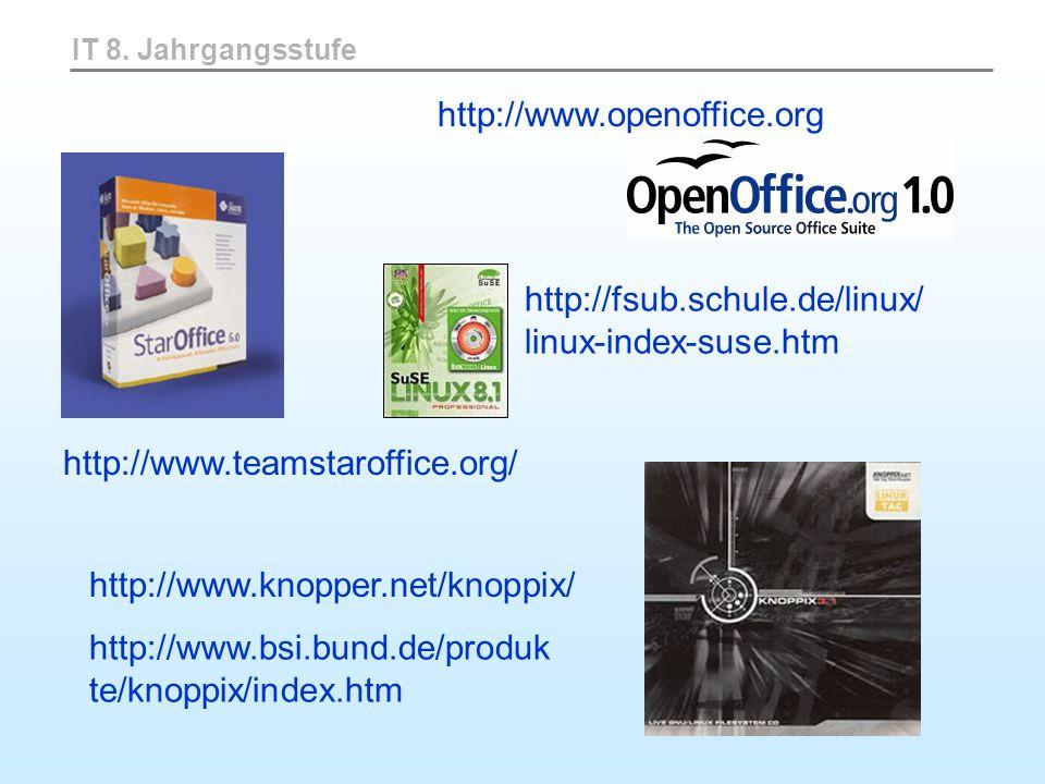 IT 8. Jahrgangsstufe http://www.teamstaroffice.org/ http://fsub.schule.de/linux/ linux-index-suse.htm http://www.knopper.net/knoppix/ http://www.bsi.b