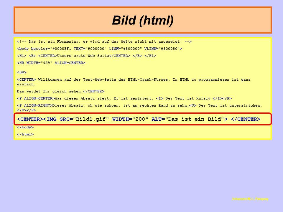 Bild (html) Johannes M. L. Pasquay Unsere erste Web-Seite Willkommen auf der Test-Web-Seite des HTML-Crash-Kurses. In HTML zu programmieren ist ganz e