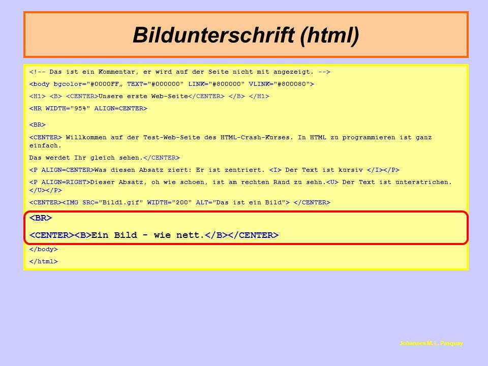 Bildunterschrift (html) Johannes M. L. Pasquay Unsere erste Web-Seite Willkommen auf der Test-Web-Seite des HTML-Crash-Kurses. In HTML zu programmiere