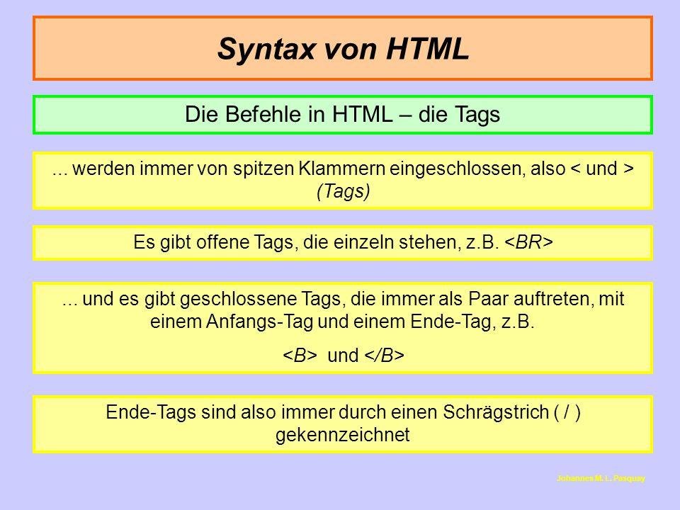 Syntax von HTML... werden immer von spitzen Klammern eingeschlossen, also (Tags) Es gibt offene Tags, die einzeln stehen, z.B.... und es gibt geschlos