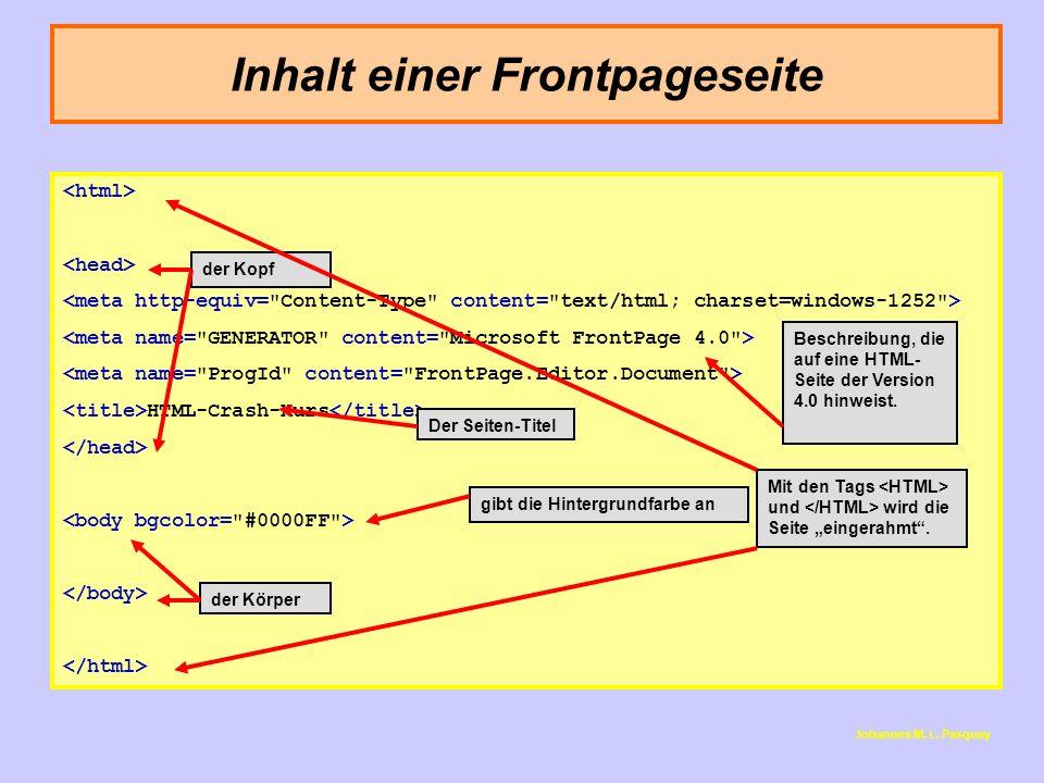 Inhalt einer Frontpageseite HTML-Crash-Kurs Johannes M. L. Pasquay Beschreibung, die auf eine HTML- Seite der Version 4.0 hinweist. Der Seiten-Titel d