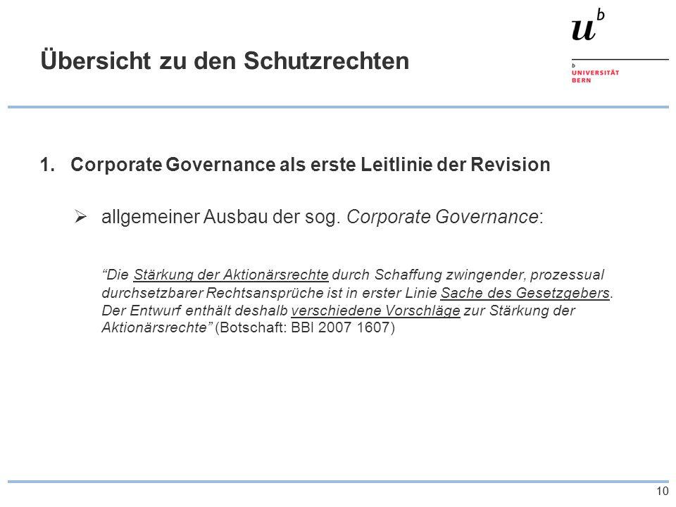 10 Übersicht zu den Schutzrechten 1.Corporate Governance als erste Leitlinie der Revision allgemeiner Ausbau der sog.