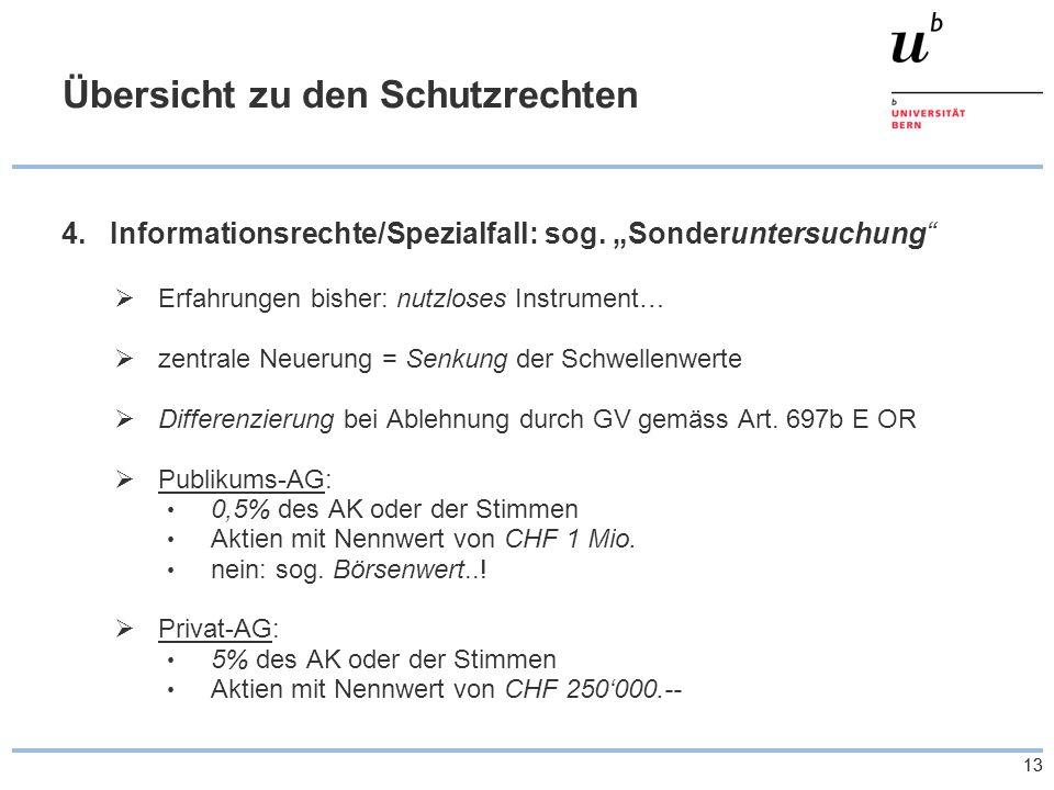 13 Übersicht zu den Schutzrechten 4.Informationsrechte/Spezialfall: sog.