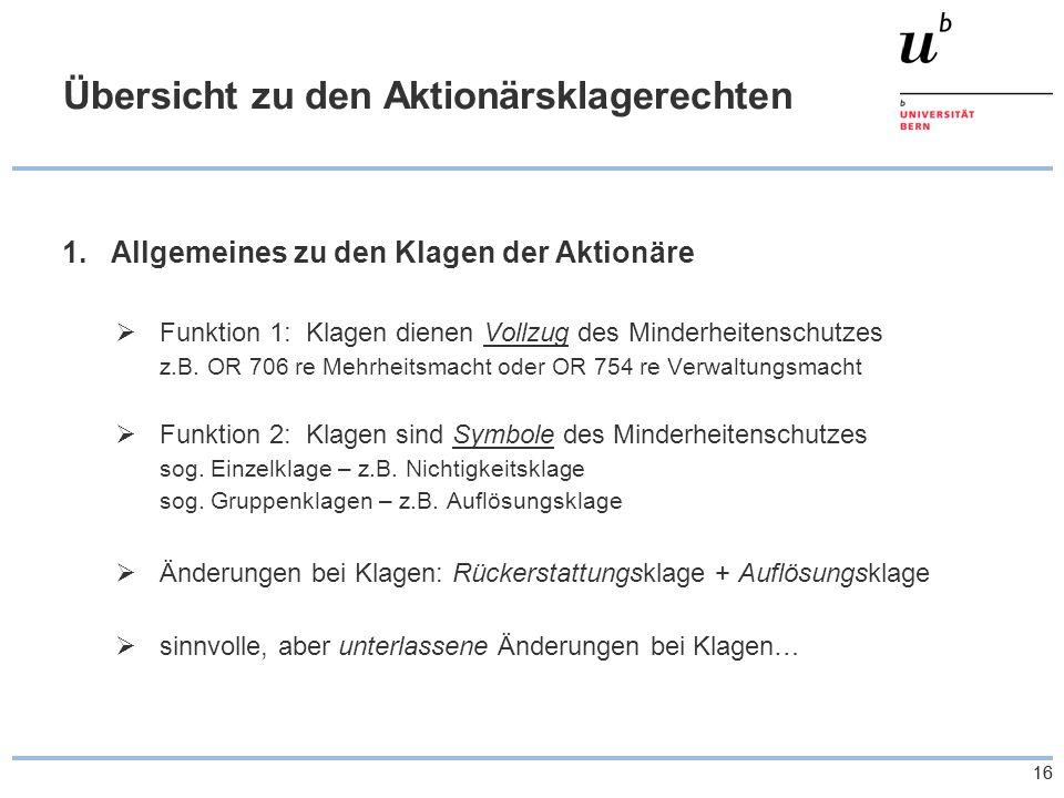 16 Übersicht zu den Aktionärsklagerechten 1.Allgemeines zu den Klagen der Aktionäre Funktion 1: Klagen dienen Vollzug des Minderheitenschutzes z.B.