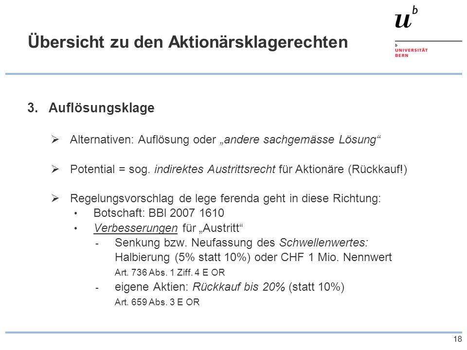 18 Übersicht zu den Aktionärsklagerechten 3.Auflösungsklage Alternativen: Auflösung oder andere sachgemässe Lösung Potential = sog.