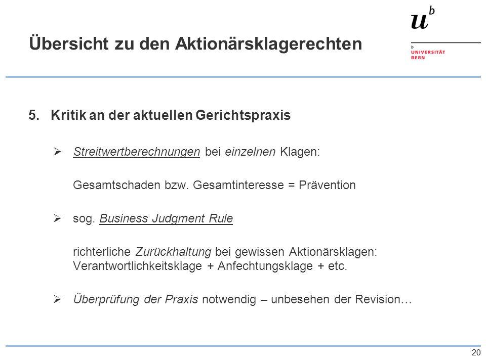 20 Übersicht zu den Aktionärsklagerechten 5.Kritik an der aktuellen Gerichtspraxis Streitwertberechnungen bei einzelnen Klagen: Gesamtschaden bzw.