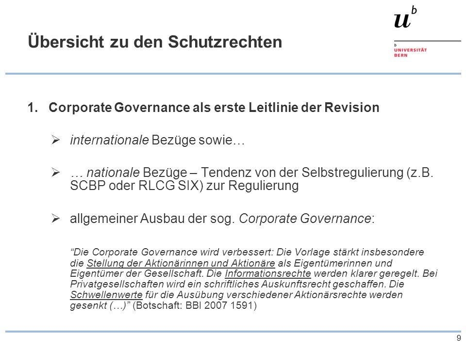 99 Übersicht zu den Schutzrechten 1.Corporate Governance als erste Leitlinie der Revision internationale Bezüge sowie… … nationale Bezüge – Tendenz von der Selbstregulierung (z.B.