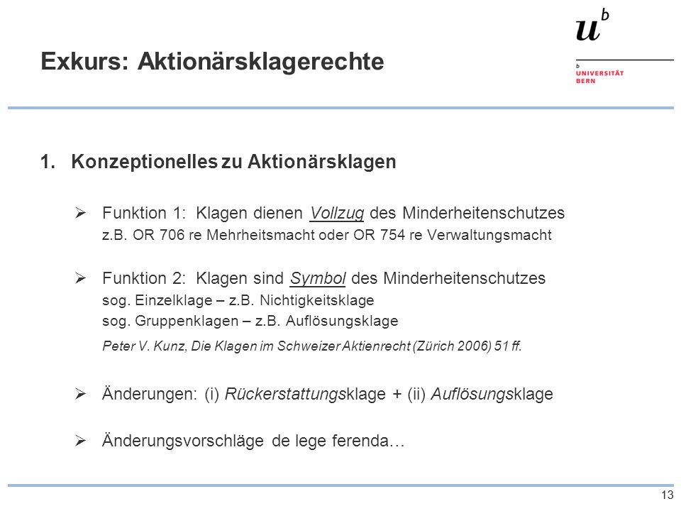 13 Exkurs: Aktionärsklagerechte 1.Konzeptionelles zu Aktionärsklagen Funktion 1: Klagen dienen Vollzug des Minderheitenschutzes z.B.