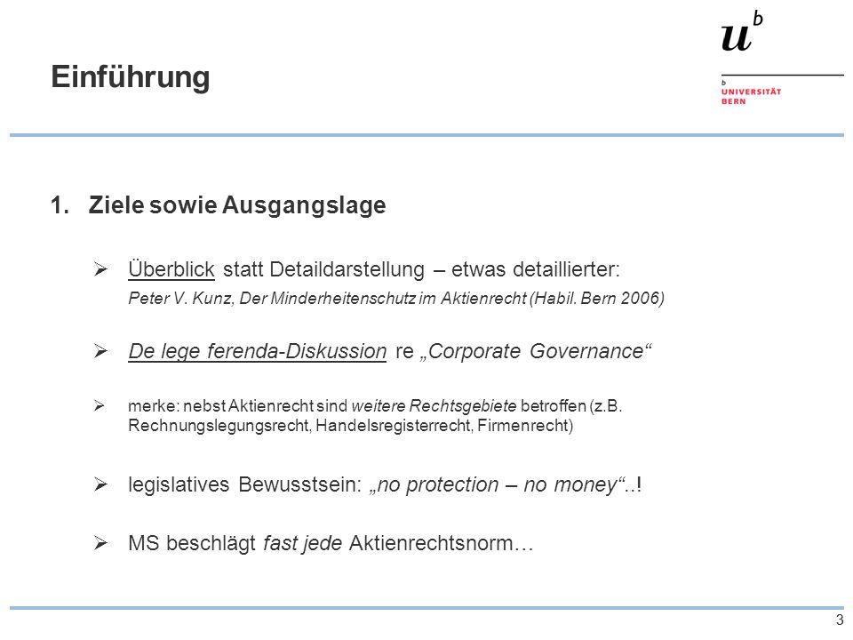 33 Einführung 1.Ziele sowie Ausgangslage Überblick statt Detaildarstellung – etwas detaillierter: Peter V. Kunz, Der Minderheitenschutz im Aktienrecht