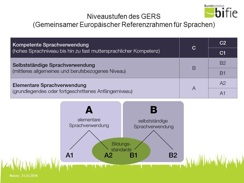 Netzer, 31.03.2014 Niveaustufen des GERS (Gemeinsamer Europäischer Referenzrahmen für Sprachen)