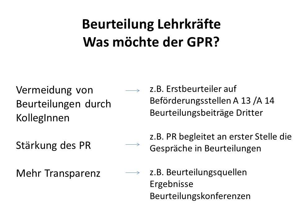 Beurteilung Lehrkräfte Was möchte der GPR? Vermeidung von Beurteilungen durch KollegInnen Stärkung des PR Mehr Transparenz z.B. Erstbeurteiler auf Bef