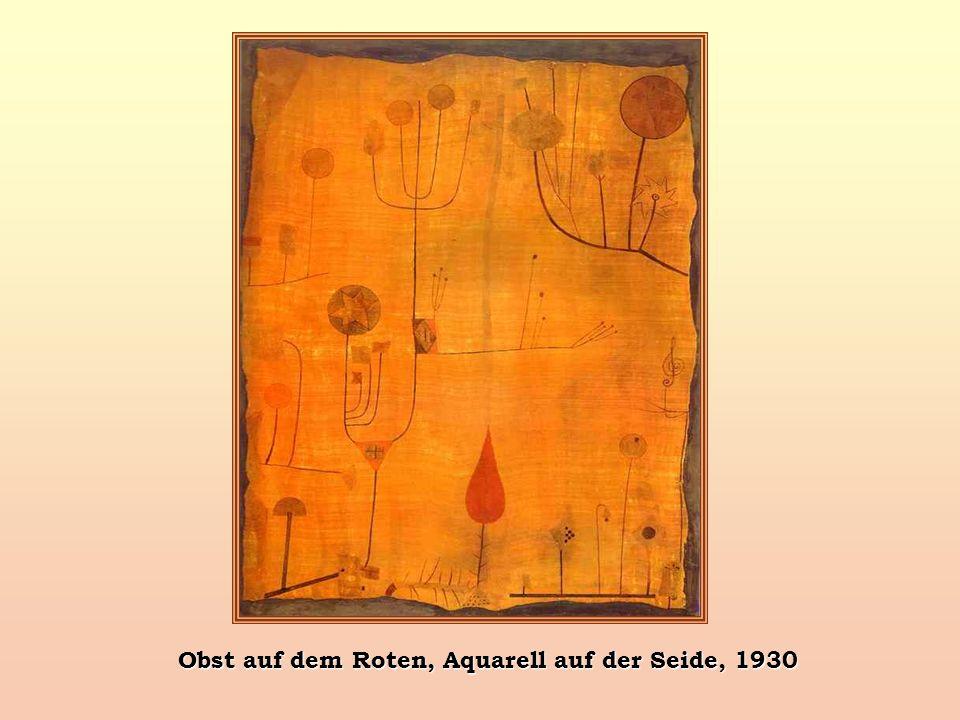 Obst auf dem Roten, Aquarell auf der Seide, 1930