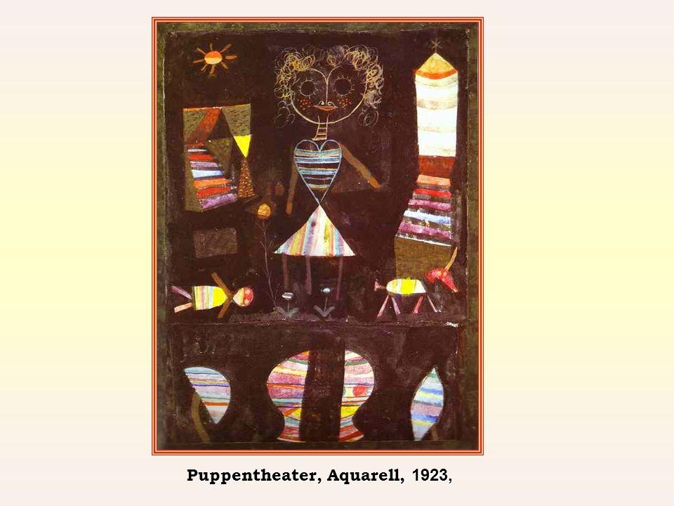 Puppentheater, Aquarell, 1923,