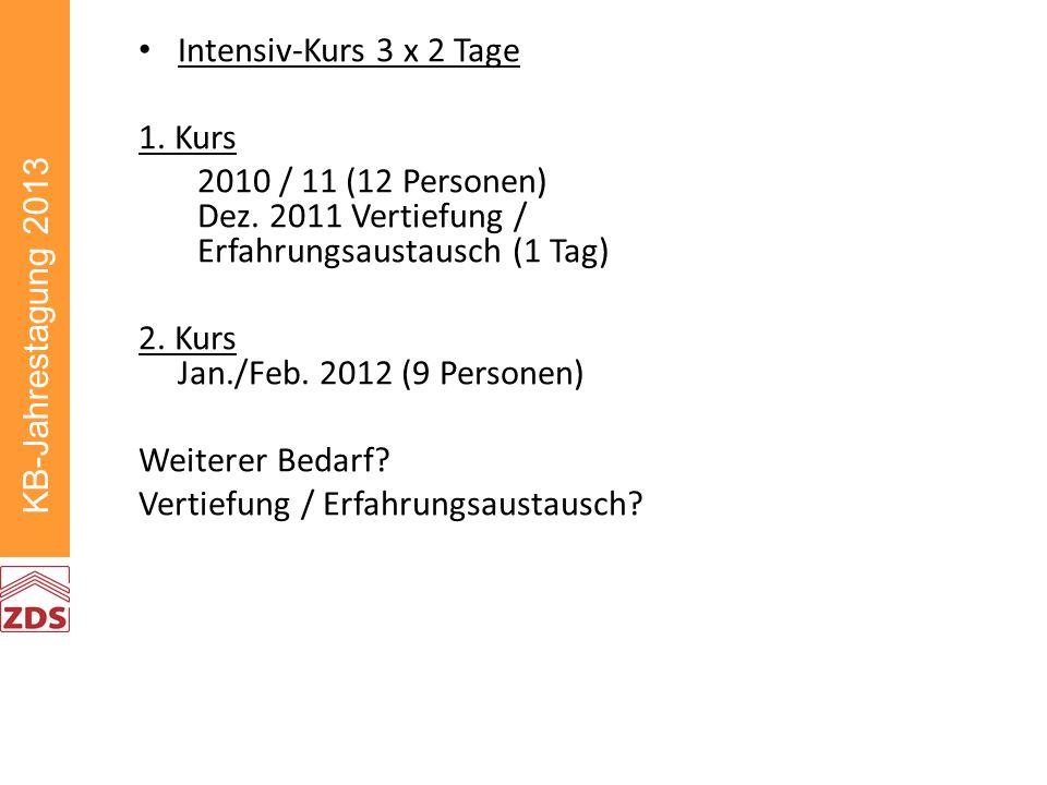 KB-Jahrestagung 2013 Intensiv-Kurs 3 x 2 Tage 1. Kurs 2010 / 11 (12 Personen) Dez.